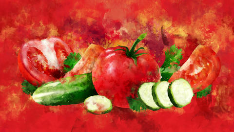 The appearance of the tomato and cucumber on a watercolor background CG動画