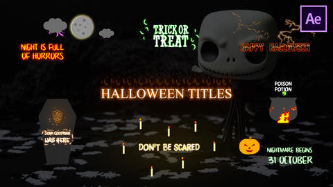Halloween Cartoon Titles After Effects Template