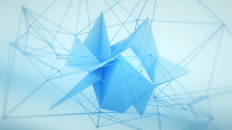 Futuristic network polygonal 3D shape loopable Animation