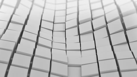 White cubes surface waving. Seamless loop 3D animation Animation