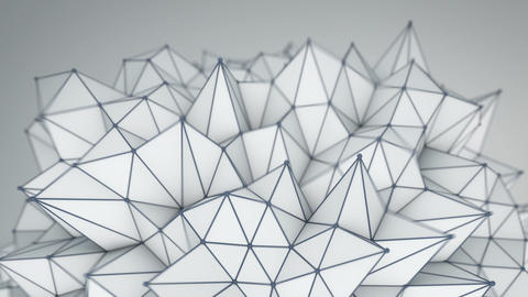Spiky low poly shape. Futuristic 3D render Animation