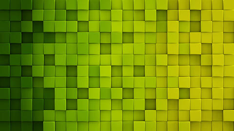 Yellow green gradient cubes 3D render loopable animation Animation