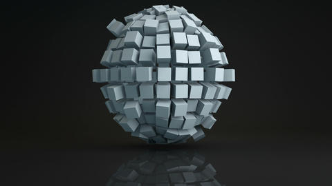Ball cluster of cubes deforming 3D render loopable Animation