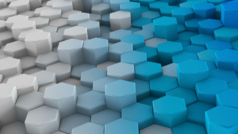 White blue extruded hexagons 3D render loopable animation Animation