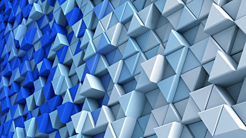 Wall of blue and white extruded triangles 3D render loopable Animation