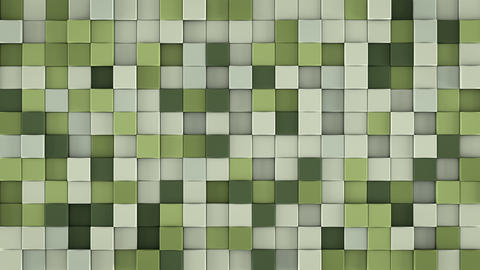 Wall of gentle green cubes 3D render loopable animation Animation