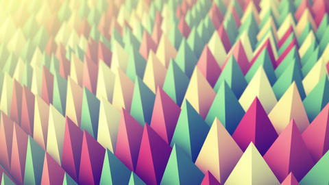 Colorful peaks waving. 3D render animation loopable Animation