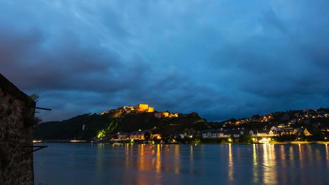 Koblenz Ehrenbreitstein At Night Time Lapse in 4K Footage