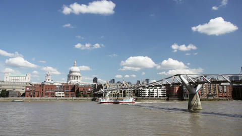 Time lapse of Millennium Bridge in London with St. Paul's Cathedral in the backg Footage