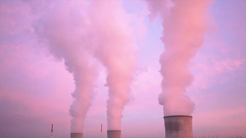 Nuclear Power Station At Sunset Timelapse Footage