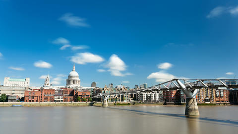 Long exposure time lapse of the Millennium Bridge with St. Paul's Cathedral in 4 Footage