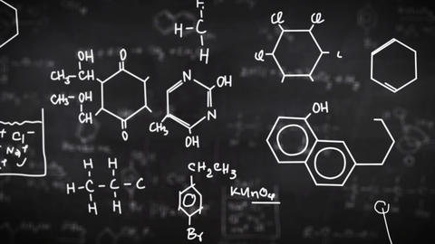 Chemical formulas on black Animation