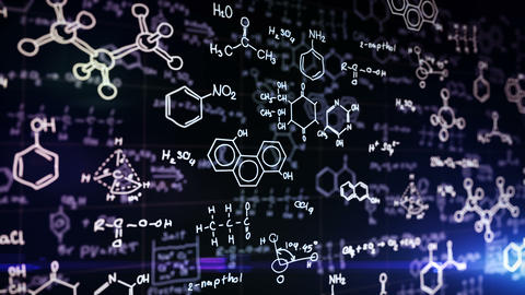 Chemical formulas on blue Animation