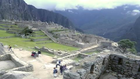 View of the ancient Inca City of Machu Picchu, Peru Footage