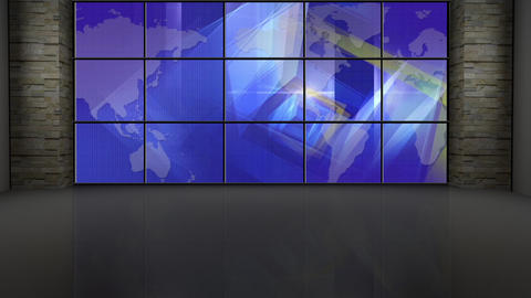 News TV Studio Set 201 - Virtual Background Loop Footage