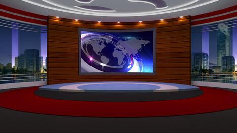 News TV Studio Set 205- Virtual Background Loop Footage