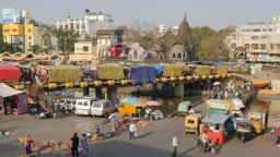 Bridge with shops over sacred river Godavari,Nashik,India Footage