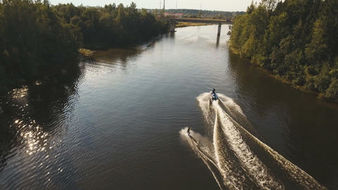 Wakeboarder surfing on the river.Aerial video Footage