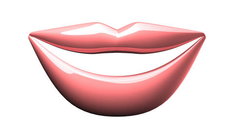 Kissing Pink Lips On White background Animation