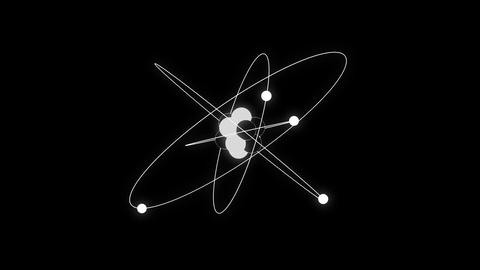 Atom black and white schematic animated representation background loop Animation
