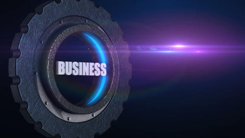 Word business in rotating gear wheel with flare, teamwork business concept Animation
