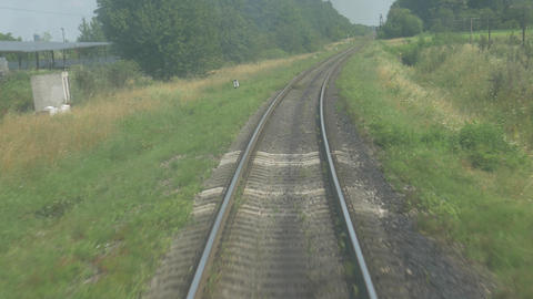 High Speed Train in Motion on Railroad Live Action