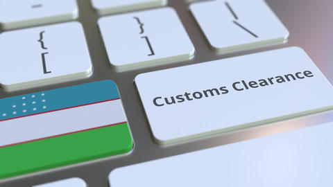 CUSTOMS CLEARANCE text and flag of Uzbekistan on the buttons on the computer Live Action