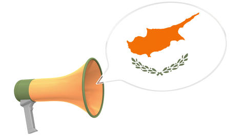 Megaphone and flag of Cyprus on the speech bubble. Language or national Live Action