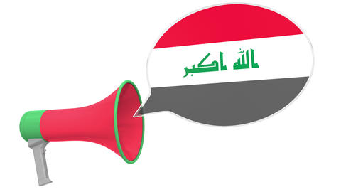 Loudspeaker and flag of Iraq on the speech bubble. Language or national Live Action