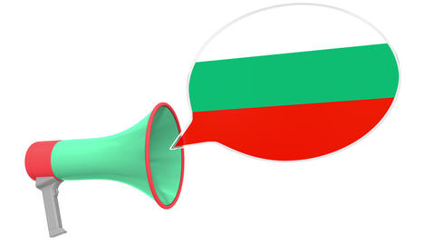 Megaphone and flag of Bulgaria on the speech bubble. Language or national Live Action