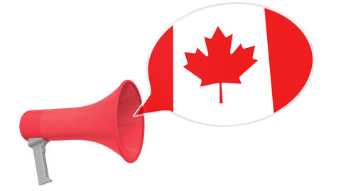 Megaphone and flag of Canada on the speech bubble. Language or national Live Action