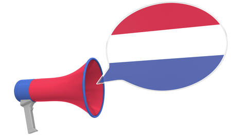 Megaphone and flag of the Netherlands on the speech balloon. Language or Live Action