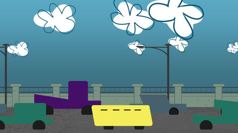 Cartoon animation background with motion clouds and cars on road, abstract cityscape backdrop CG動画