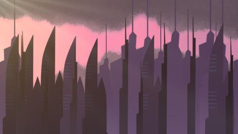 Cartoon animation background with motion clouds and buildings, abstract cityscape backdrop CG動画
