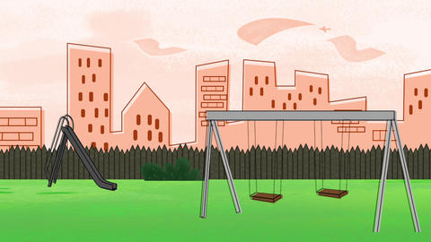 Cartoon animation background with buildings and park of city, abstract backdrop CG動画