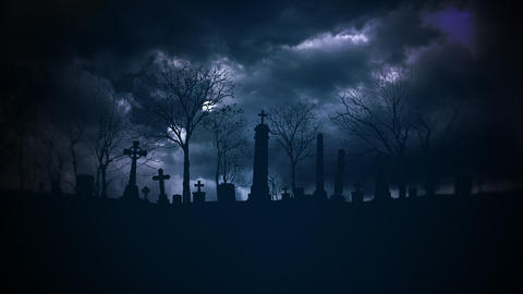 Mystical halloween background with dark clouds and grave on cemetery. Holiday abstract backdrop Videos animados