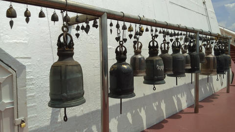 Hanging bells in the temple at Golden Mountain Temple at Bangkok ,Thailand Live Action