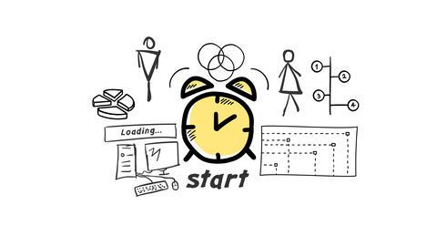 Isolated Hand Drawn Alarm clock Icon Animation