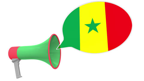 Loudspeaker and flag of Senegal on the speech bubble. Language or national Live Action