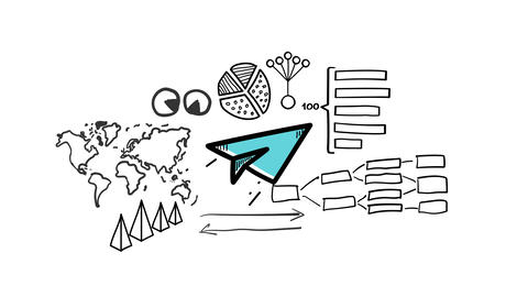 Isolated Hand Drawn Paper plane Icon Animation