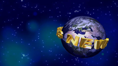 129 3d aniamted earth in space with text breaking news Animation