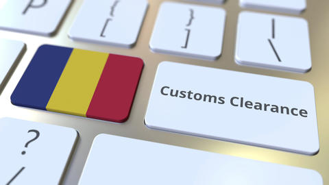 CUSTOMS CLEARANCE text and flag of Romania on the computer keyboard. Import or Live Action