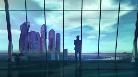 Male silhouette in office opposite virtual infographic Stock Video Footage