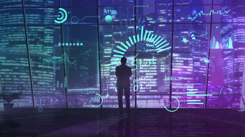 The silhouette of a businessman analyzes data using new technologies Animation