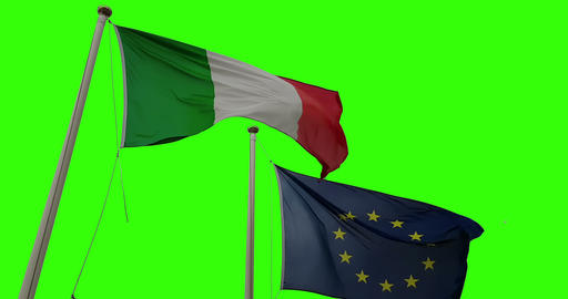 waving fabric texture of the flag of italy and union europe on chroma key green screen Live Action