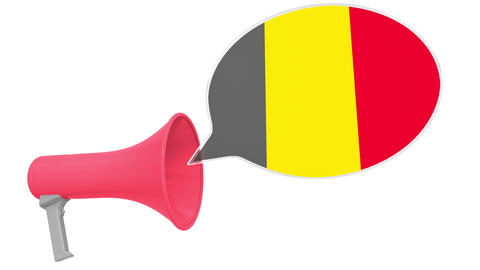 Loudspeaker and flag of Belgium on the speech bubble. Language or national Live Action