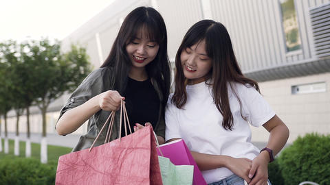 Two attractive carefree asian female best friends standing near shopping mall Footage