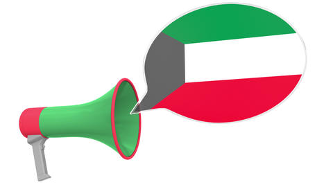 Loudspeaker and flag of Kuwait on the speech bubble. Language or national Live Action