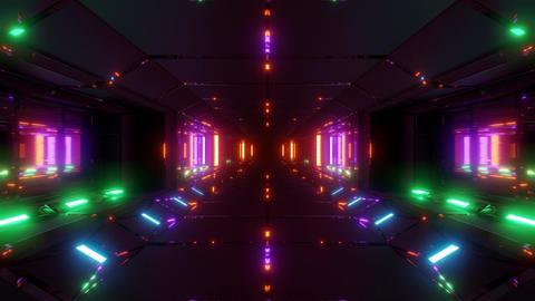 futuristic sci-fi space tunnel corridor hangar 3d illustration live wallpaper Animation