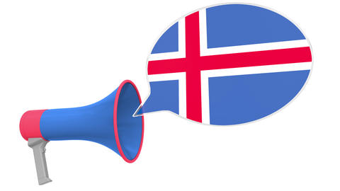 Loudspeaker and flag of Iceland on the speech bubble. Language or national Live Action